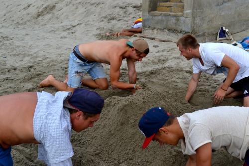 Sandburgen bauen -Mancora